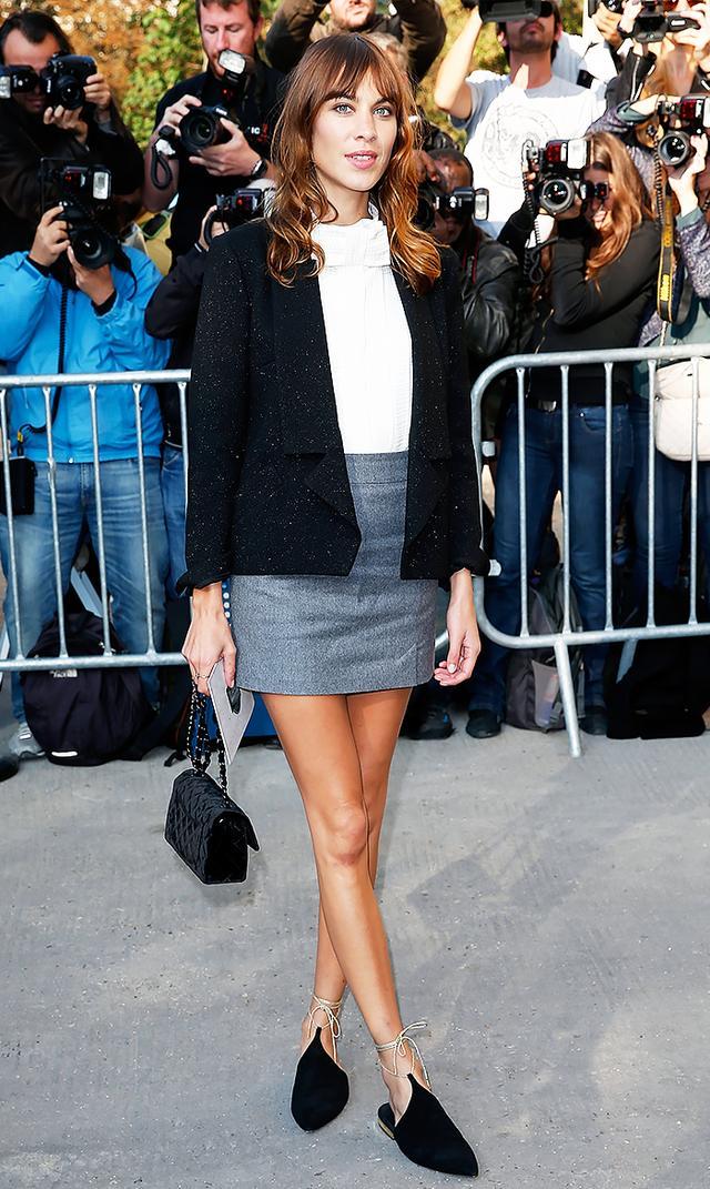 Alexa Chung's Outfit Formula: Miniskirt + Flats