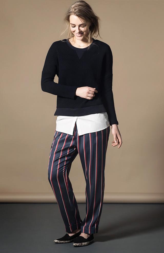 Violeta by Mango Satin Striped Trousers