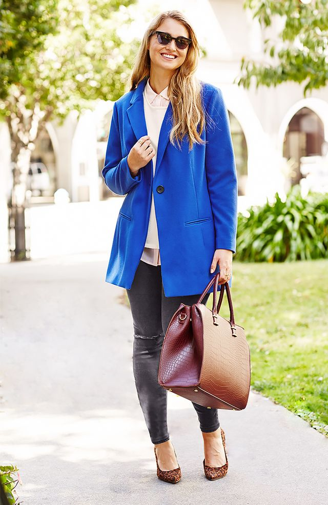Old Navy Old Navy Women's Brushed-Twill Long Blazer ($60) in Bluetiful and Women's Plus ¾-Sleeve Sweater ($25) in Sea Salt and Women's Plus Chiffon Blouse ($20) in Bouquet and Women's Plus The Rockstar Jeggings ($45) in Black Deconstructed