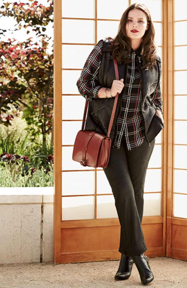 Sejour Sejour Faux Shearling Vest ($128) in Black and Foxcroft Tartan Plaid Shaped Shirt ($92) in Multi and NYDJ Sheri Coated Stretch Skinny Jeans ($140) in Black