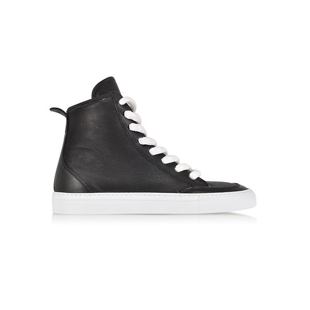 MM6 Maison Martin Margiela Black Perforated Eco Leather Sneaker