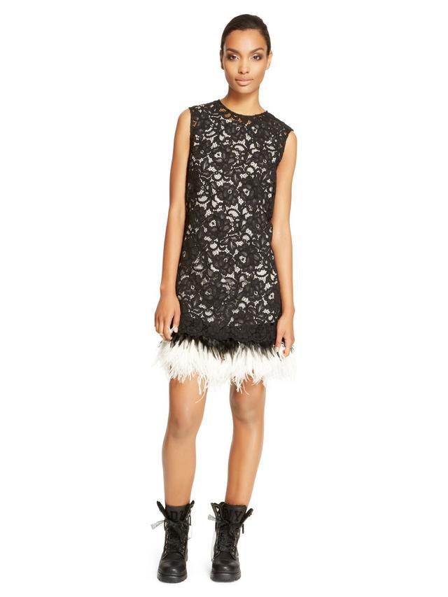 DKNY Feather Hem Lace Dress