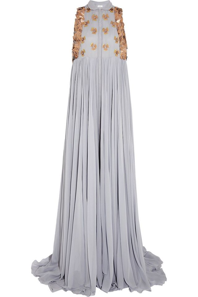 DELPOZO Embellished silk-georgette gown