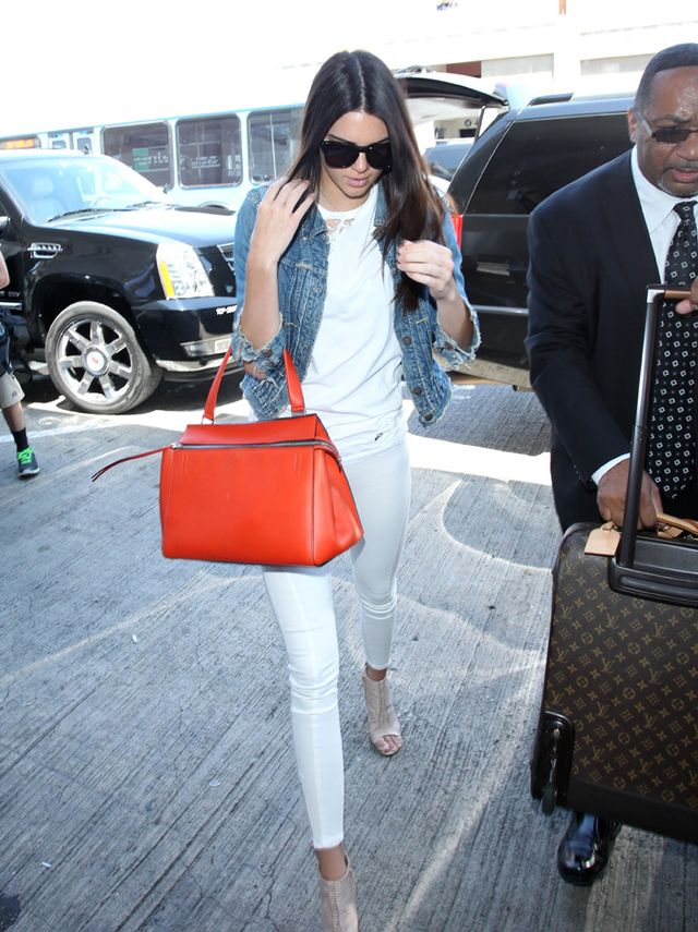 Kendall Jenner in Jean-Michel Cazabat shoes and Celine bag
