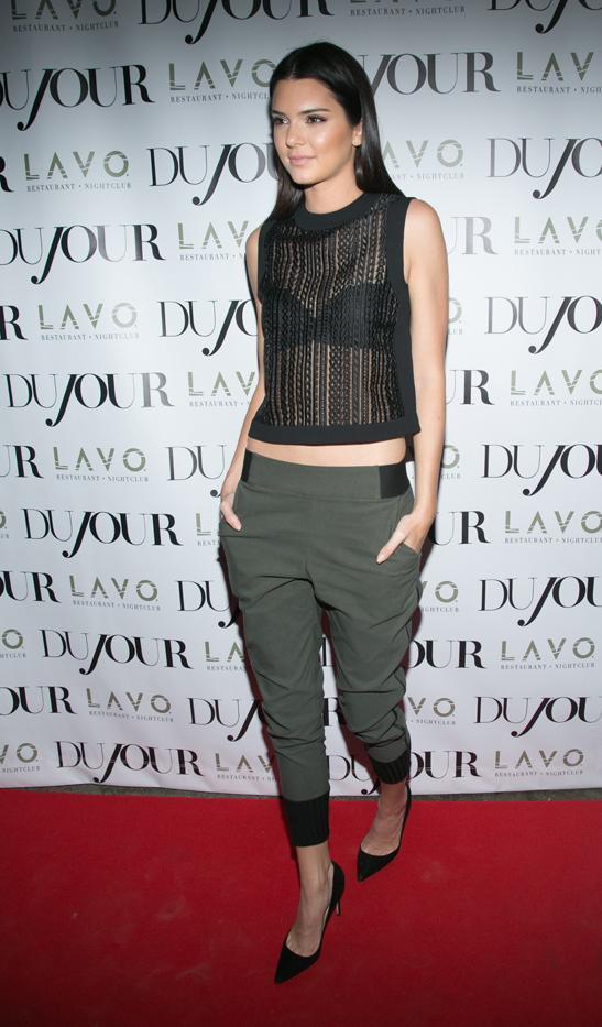 Kendall Jenner in Line Dry pants, Alexander Wang top, Manolo Blahnik shoes