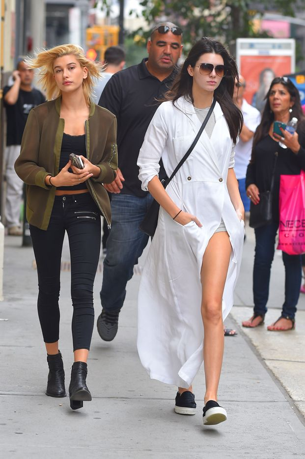 Kendall Jenner in Stone Cold Fox gown, American Apparel romper, Celine shoes and bag