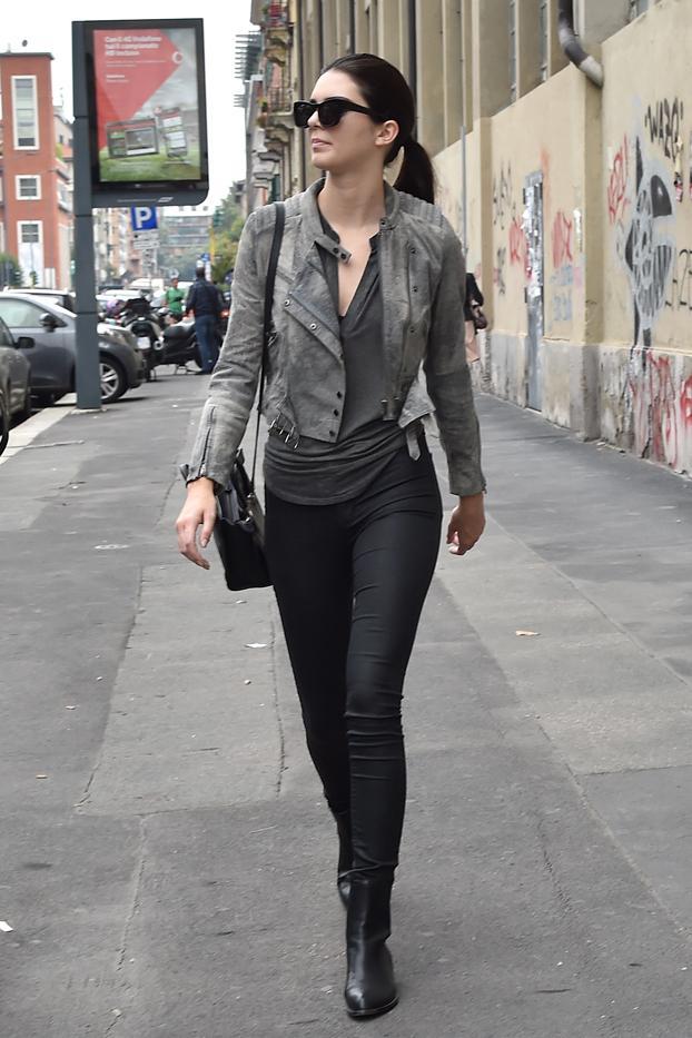 Kendall Jenner in H&M jacket, Res jeans, Alexander Wang shoes, Celine bag