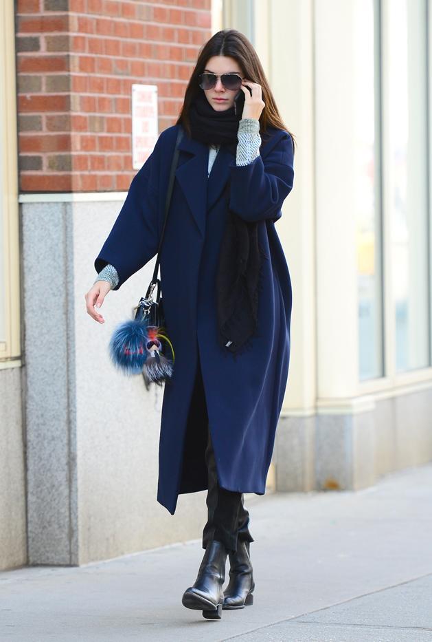 Kendall Jenner in 10 Crosby Derek Lam coat,Proenza Schouler pants, Alexander Wang shoes, Celine bag