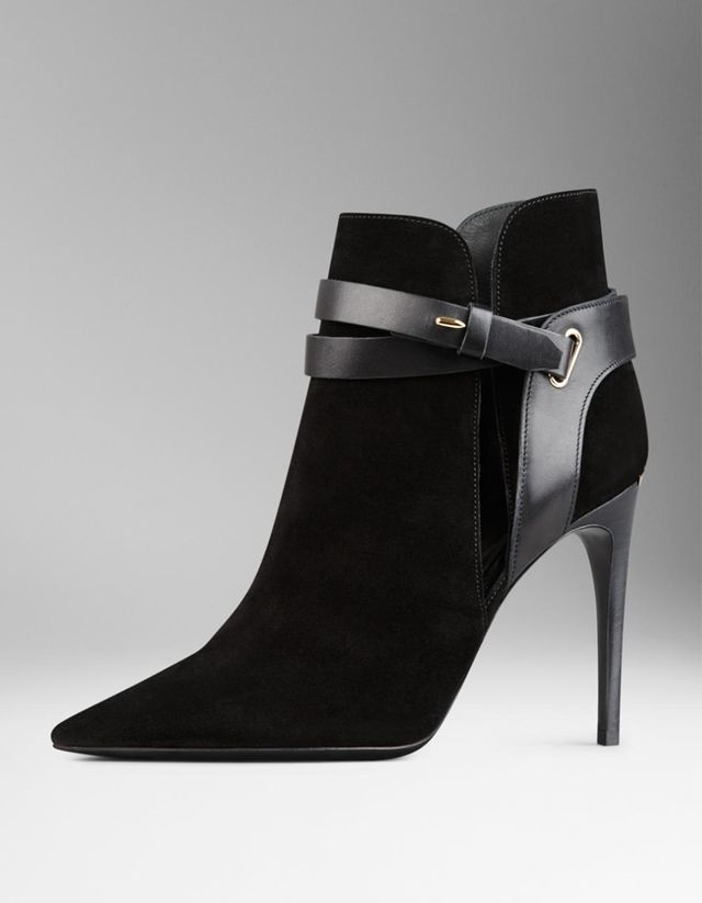 Burberry Cutaway Detail Belted Suede Ankle Boots