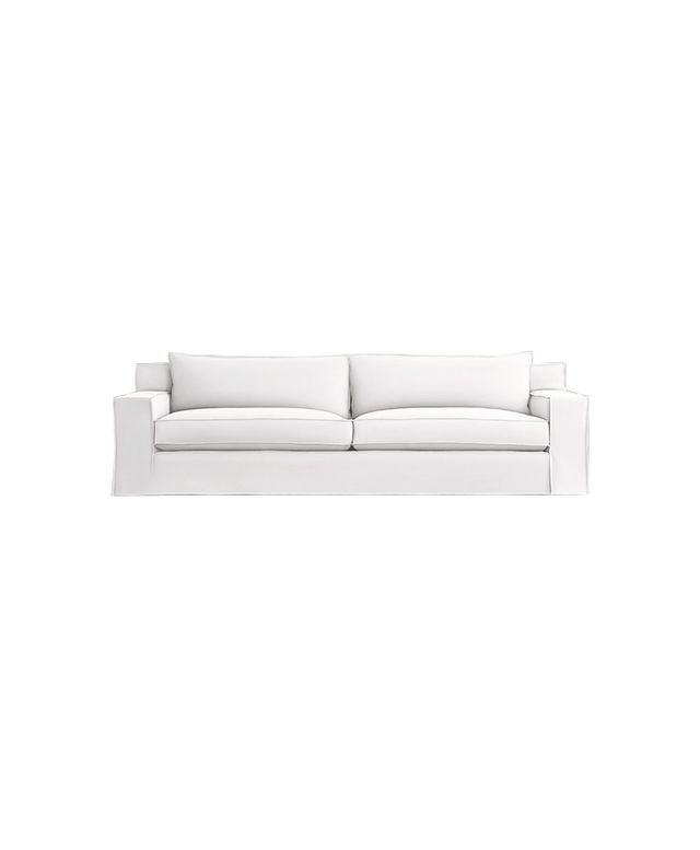 Restoration Hardware Capri Slipcovered Sofa With Fange Detailing