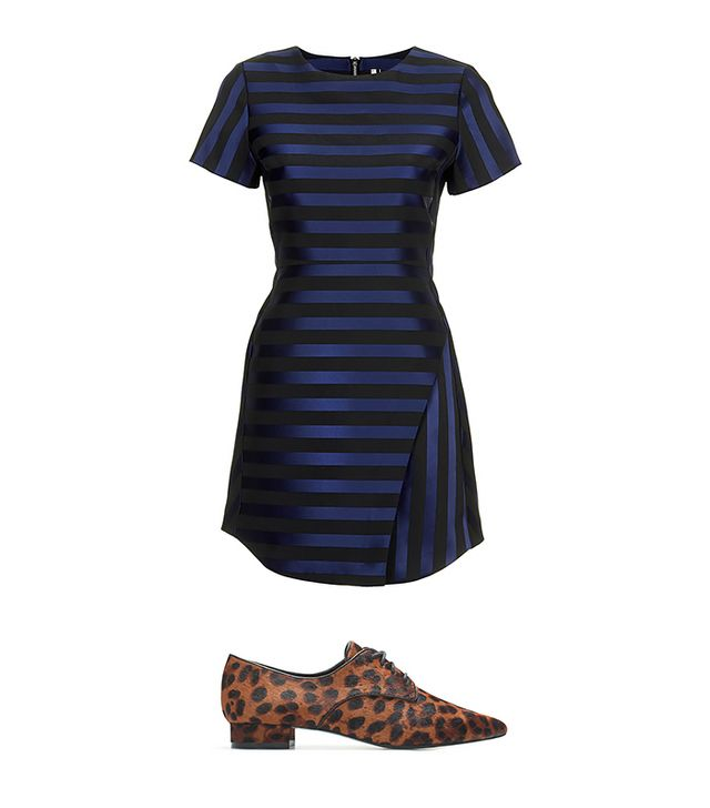 Topshop Matte Satine Stripe Dress