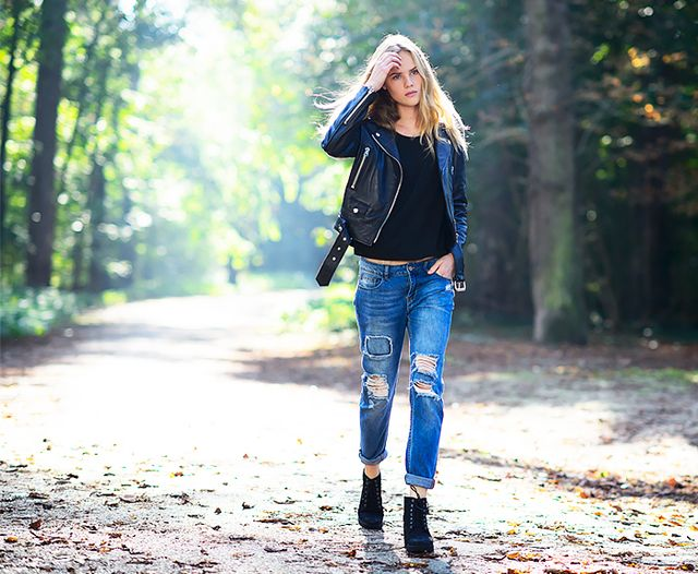 Patchwork Jeans + Lace-Up Boots