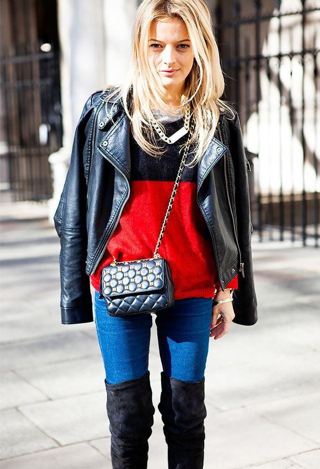 Dark-Wash Skinny Jeans + Suede Over-The-Knee Boots