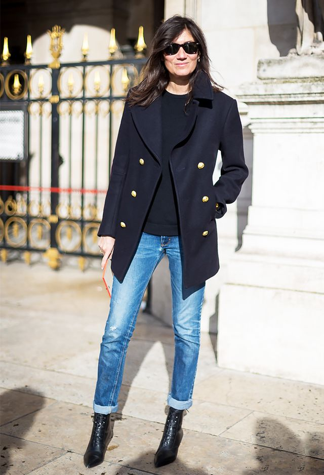 Cuffed Jeans + Pointed-Toe Lace-Up Boots