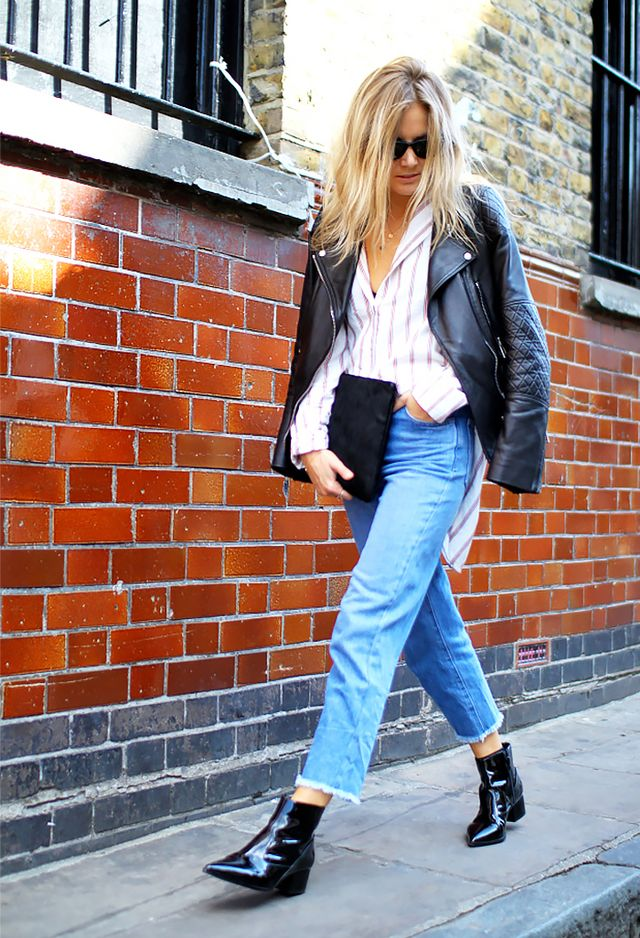 Frayed-Edge Jeans + Patent Leather Ankle Boots
