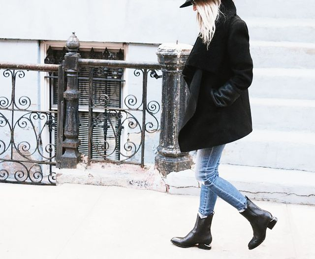 Distressed Skinny Jeans + Tall Leather Ankle Boots