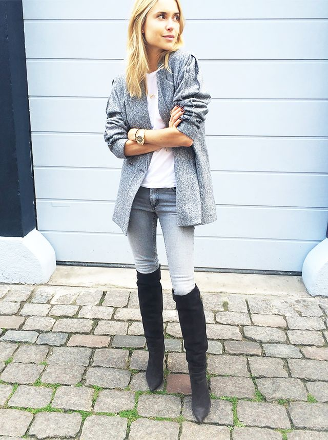 Gray Skinny Jeans + Over-The-Knee Boots