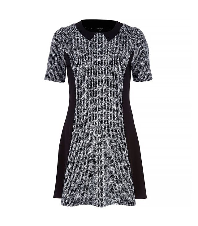 River Island Gray Marl Paneled Fit And Flare Dress