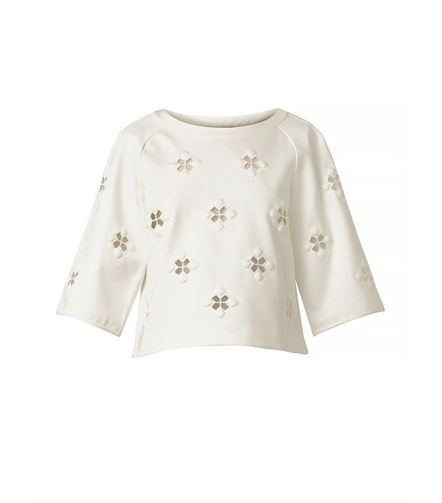 Tibi Boutis Embroidered Jersey Top
