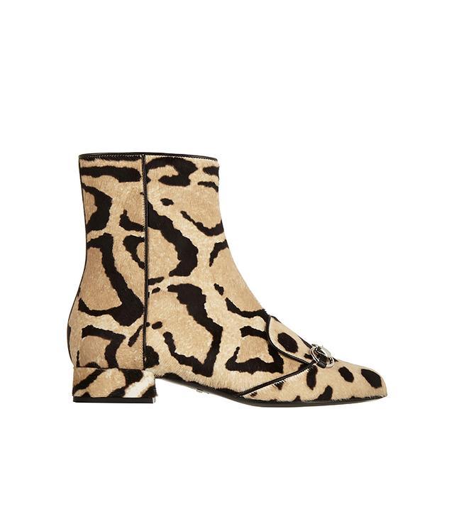 Gucci Leopard-Print Calf Hair Ankle Boots