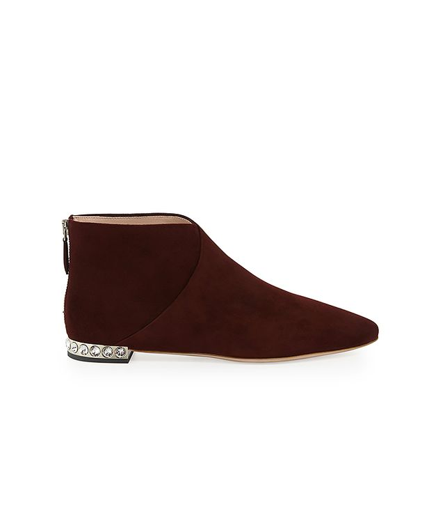 Miu Miu Jeweled-Heel Suede Ankle Boots