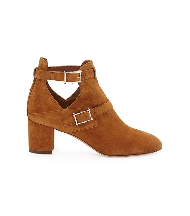 Valentino Suede Double-Buckle Ankle Boot