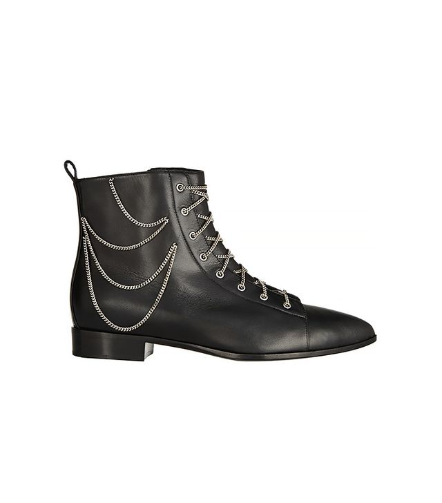 Giuseppe Zanotti Black Leather Silver Chain Lace Ankle Boot