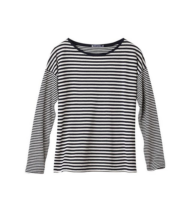 Petit Bateau Women's Long-Sleeved Tee in Striped Tube Knit