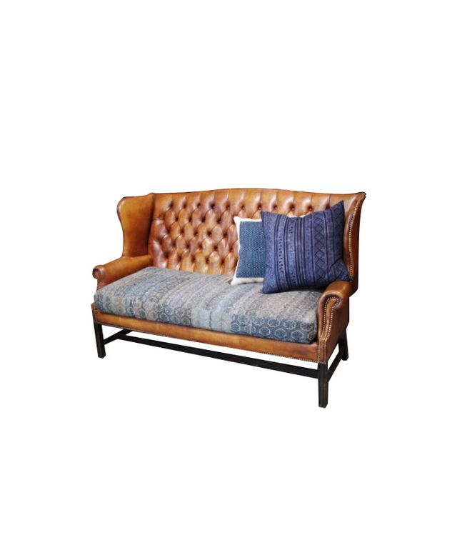 Big Daddy's Antiques Vintage Leather Wingback Sofa