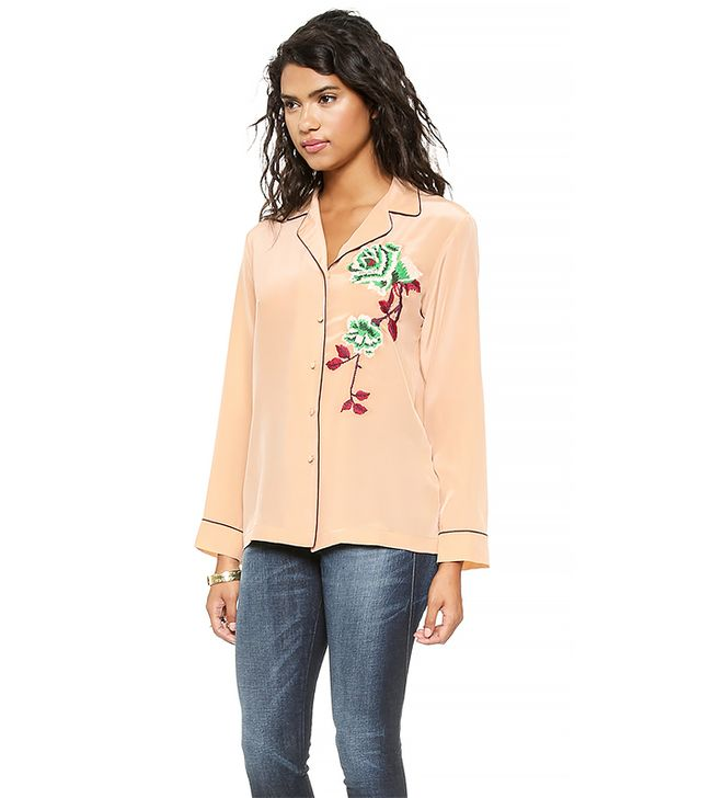Clover Canyon Floral Embroidery Pajama Top