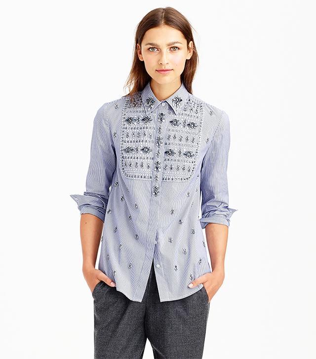 J. Crew Collection Jeweled Bib Shirt