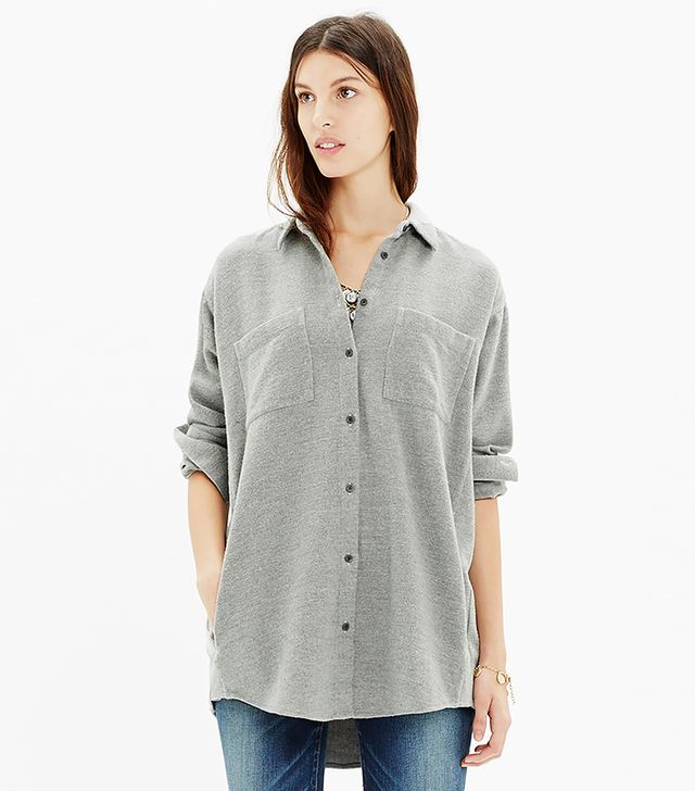 Madewell Flannel Oversized Button-Down Shirt in Heather Cloud