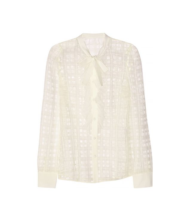 RED Valentino Organza-Paneled Point D'esprit Blouse