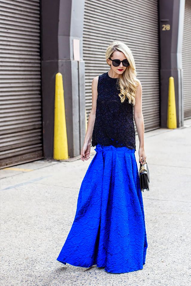 Outfit Idea: Black Lace Top + Blue Full Skirt