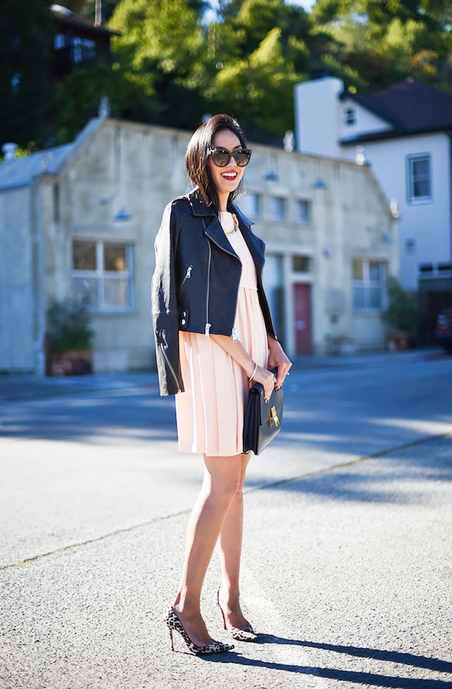 Outfit Idea: Pleated Pale Pink Dress + Leather Jacket
