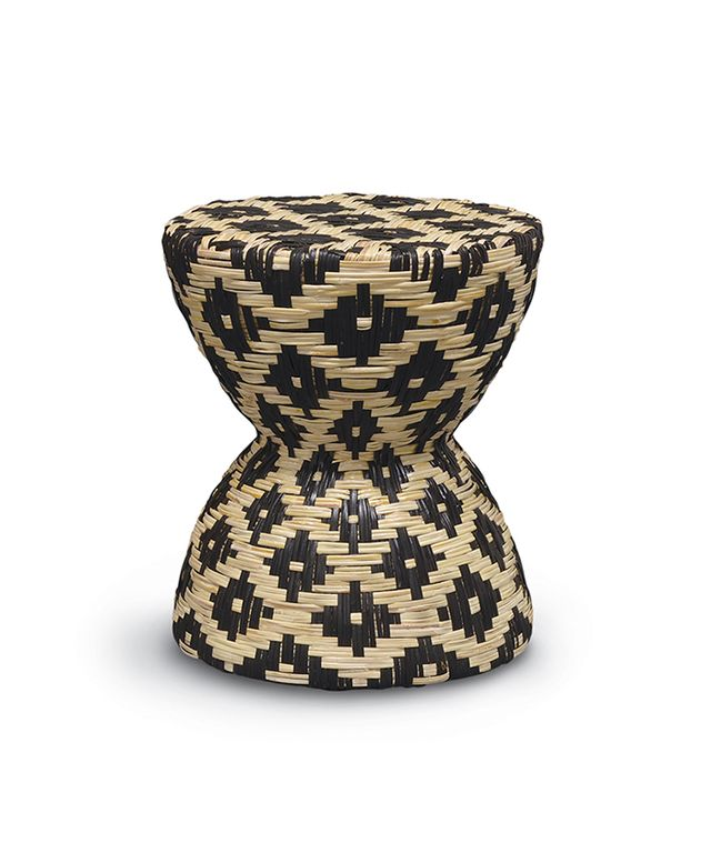 Palecek Woven Rattan Black and White Hourglass Stool