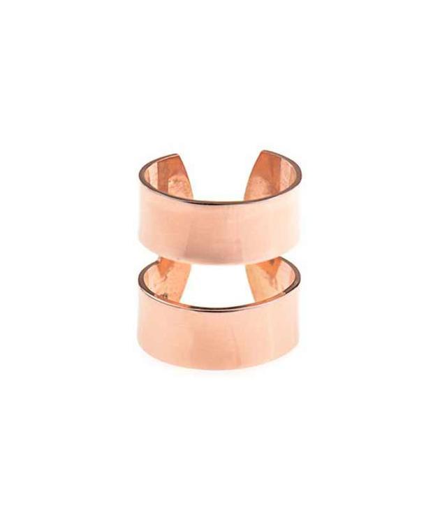 Aamaya By Priyanka Double-Band Rose Gold-Plated Ring