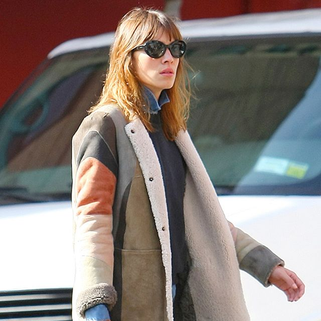 Get The Look: Alexa Chung's Cozy Patchwork Coat