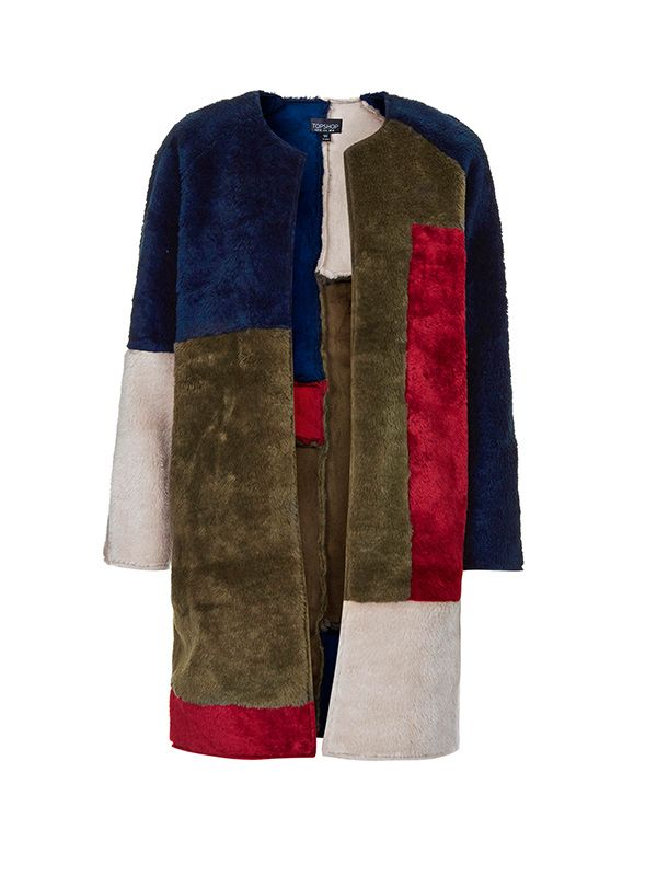 Topshop Faux Fur Patchwork Throw On Coat