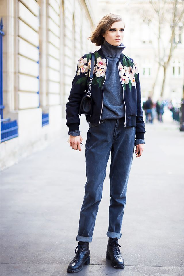 Style Recipe: Bomber Jacket + Turtleneck + Cuffed Jeans