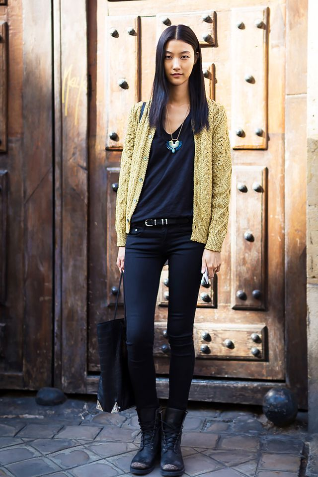 Style Recipe: Chunky Knit + Pendant Necklace + Black Jeans