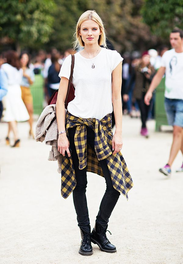 Style Recipe: White Tee + Flannel + Black Skinny Jeans
