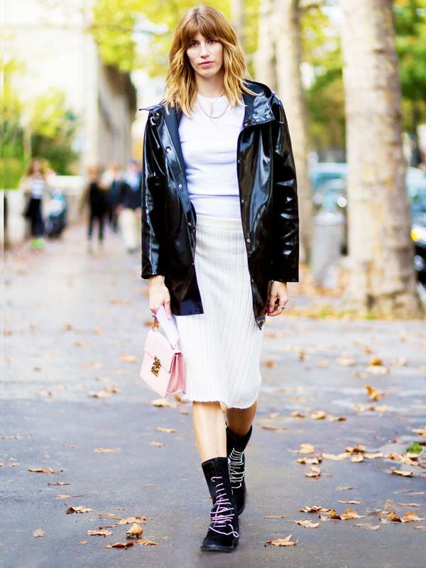 Style Recipe: Patent Leather Jacket + Knitted Skirt + Mini-Bag  Keep scrolling to shop the best lace-up boots for fall.
