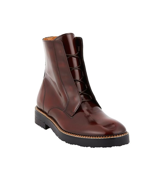 Maison Martin Margiela Burnished Lace-Up Ankle Boots