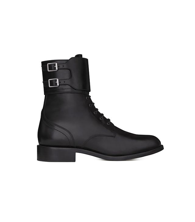 Saint Laurent Signature Patti Lace-Up Buckle Booties