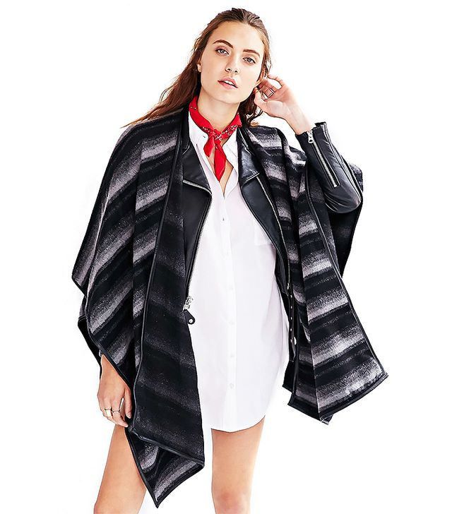 State of Being Shades Striped Blanket Poncho Jacket