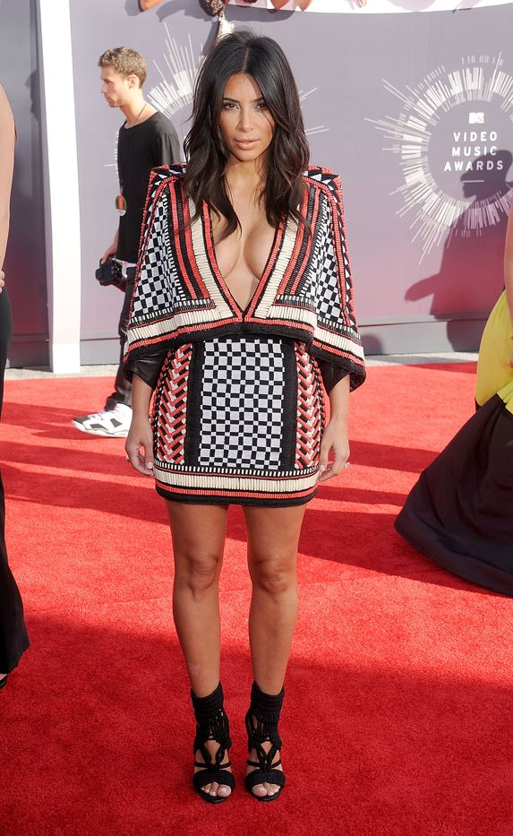 Kim Kardashian in Balmain dress and shoes