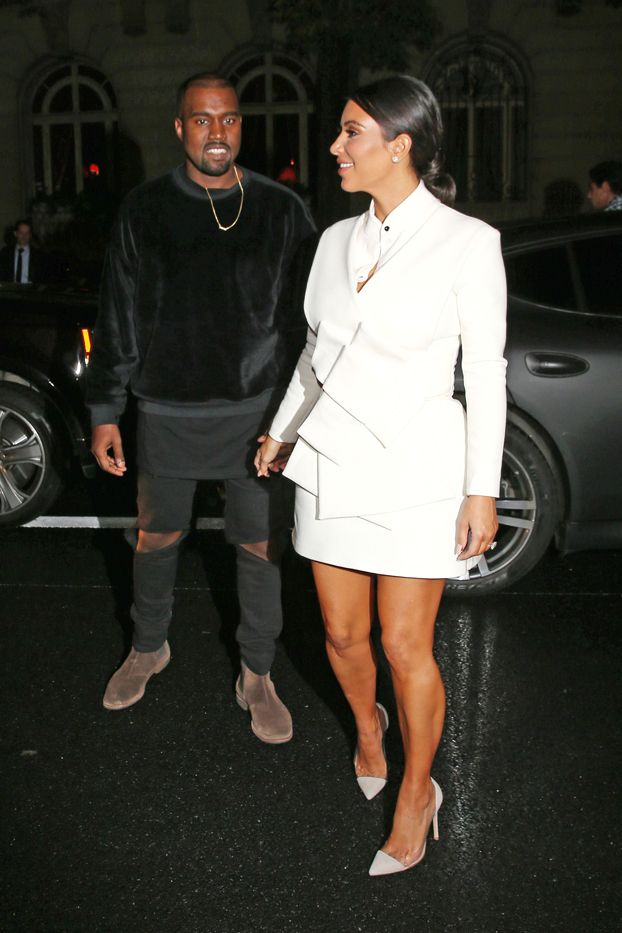Kim Kardashian in A.W.A.K.E dress, Gianvito Rossi shoes