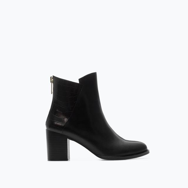 Zara Croc Leather Block Heel Booties