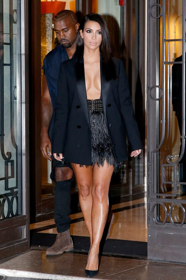 Kim Kardashian in Lanvin blazer and skirt, Jimmy Choo shoes